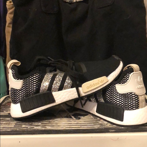 a5dcd5522 adidas Shoes - Black and silver glitter adidas NMD
